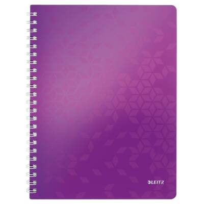 Spirálfüzet LEITZ Wow A/4 80 lapos kockás lila