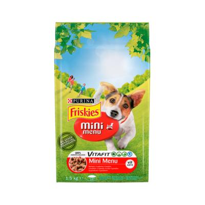 Állateledel száraz PURINA Friskies Vitafit Mini menü kutyáknak marhahússal és zöldséggel 1,5kg