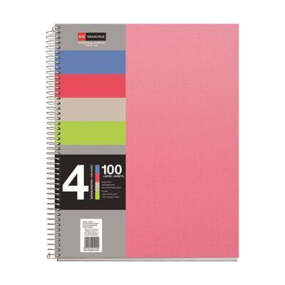 Spirálfüzet MIQUELRIUS 4 Notebook A/4 100 lapos perforált lyukasztott vonalas