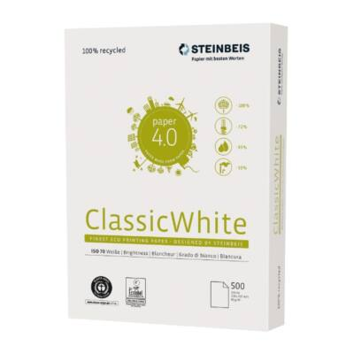 Fénymásolópapír STEINBEIS NO 1. ISO 70-s A/4 újrahasznosított 80 gr 500 ív/csomag