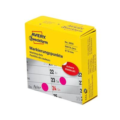 Etikett AVERY 3850 öntapadó jelölőpont adagoló dobozban pink 10mm 800 jelölőpont/doboz