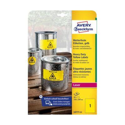 Etikett AVERY L6111-20 210x297 mm sárga időjárásálló 20 címke/doboz 20 ív/doboz