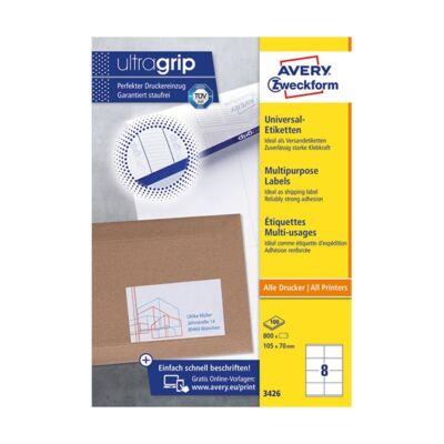 Etikett AVERY 3426 105x70 mm fehér univerzális 800 címke/doboz 100 ív/doboz