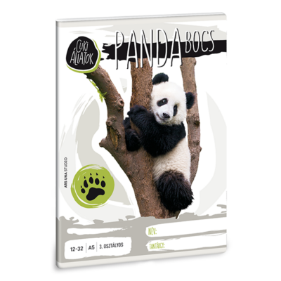 Füzet ARS UNA A/5 32 lapos vonalas 12-32 III.osztályos Cuki állatok-panda