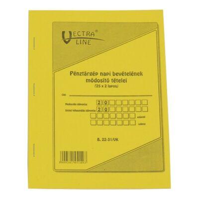 Nyomtatvány pénztárgép napi bevételeinek módosító tételei VECTRA-LINE A/5 25x2 lapos