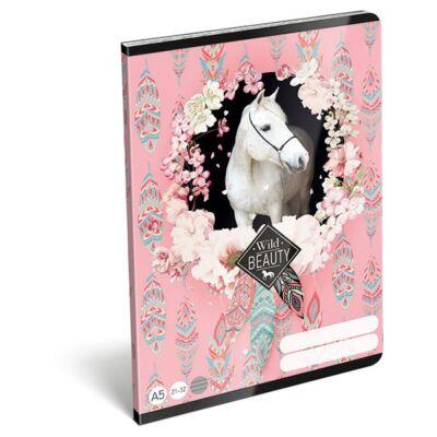 Füzet LIZZY A/5 32 lapos vonalas 21-32 rose fehér lovas