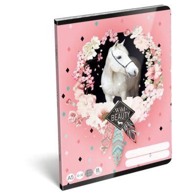 Füzet LIZZY CARD A/5 32 lapos vonalas 12-32 III. osztályos rose fehér lovas