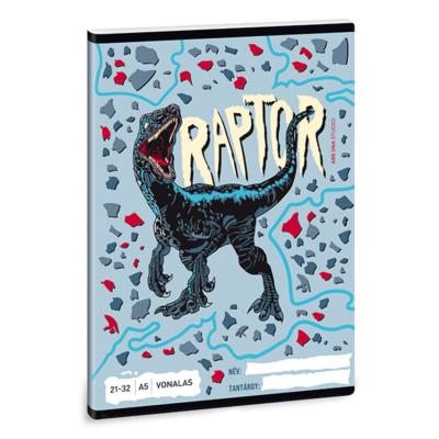 Füzet ARS UNA A/5 32 lapos vonalas 21-32 Raptor
