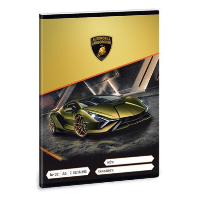 Füzet ARS UNA A/5 32 lapos vonalas 16-32 II. osztályos Lamborghini