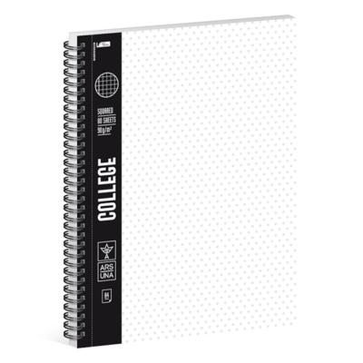 Spirálfüzet ARS UNA College A/4 80 lapos négyzethálós fehér