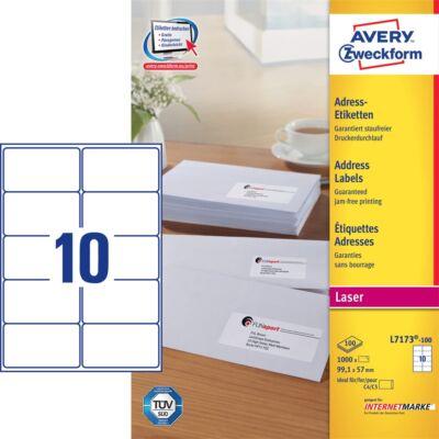 Etikett AVERY L7173-100 99,1x57mm univerzális 1000 címke/doboz 100 ív/doboz