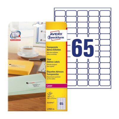 Etikett AVERY L7551-25 38x21,2mm laser átlátszó 1625 címke/doboz 25 ív/doboz