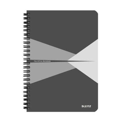 Spirálfüzet LEITZ Office A/5 karton borítóval 90 lapos kockás szürke
